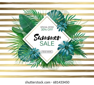 Summer sale Concept. Summer background with tropical leaves. Template Vector.