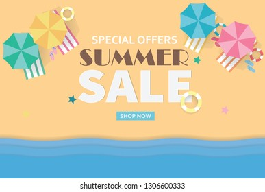 Summer sale concept banner. Tropical beach in paper art style. Top view paper cut illustration. Summer holiday vacation poster template