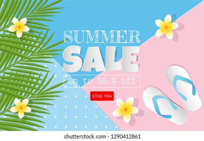 Summer sale concept for discount promotion. Sandals, coconut leaves, Plumeria flower on colorful background