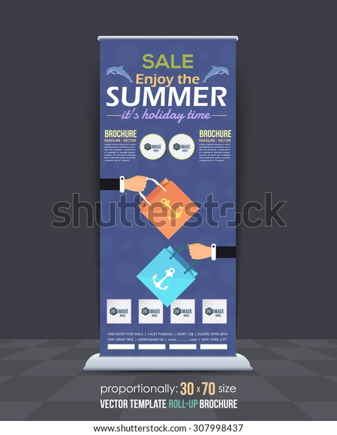 Summer Sale Concept Hanging Flowers, Roll-Up Banner Design, Advertising Vector Template. Hands Hold Shopping Bag