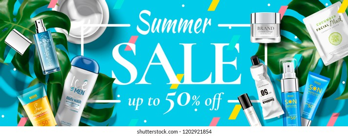 Summer sale cosmetic banner ads with products in flat lay perspective, 3d illustration tropical leaves