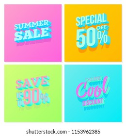 Summer Sale Cover set with trendy 3D typography. bright gradient colors. ideal for social media, web, landing page, poster, banner, promotion, ad, market.