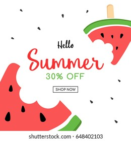 Summer sale and cute Watermelon Slice Popsicle with a bite, Vector illustration