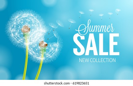 Summer Sale and Dandelion Flower Background. Vector Illustration EPS10