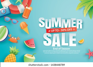 Summer sale with decoration origami on blue sky background. Paper art and craft style. Vector illustration of ice cream, watermelon, sunglasses.