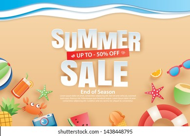 Summer sale with decoration origami on beach background. Paper art and craft style. Vector illustration of ice cream, watermelon, sunglasses.