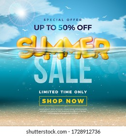 Summer Sale Design with 3d Typography Letter in underwater blue ocean background. Vector Special Offer Illustration with Deep Sea Scene and Holiday Elements for Coupon, Voucher, Banner, Flyer