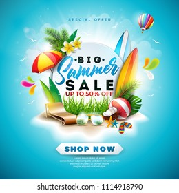 Summer Sale Design with Flower, Beach Holiday Elements and Exotic Leaves on Blue Background. Tropical Floral Vector Illustration with Special Offer Typography for Coupon, Voucher, Banner, Flyer