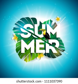 Summer Sale Design with Flower, Toucan and Exotic Leaves on Blue Background. Tropical Floral Vector Illustration with Special Offer Typography Elements for Coupon, Voucher, Banner, Flyer, Promotional