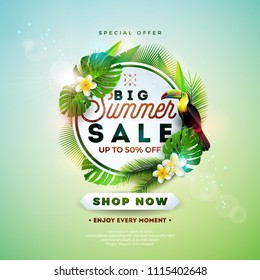 Summer Sale Design with Flower, Toucan and Exotic Leaves on Nature Green Background. Tropical Floral Vector Illustration with Special Offer Typography Elements for Coupon, Voucher, Banner, Flyer