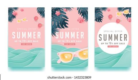 Sommerverkaufsdesign mit Papier geschnitten tropischen Strand helle Farbe Hintergrund-Layout-Banner .Orange Sonnenbrillen Konzept.Voucher Discount.Vektorgrafik Vorlage.