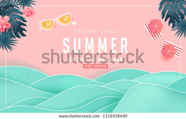 Summer sale design with paper cut tropical beach bright Color background layout banners .Orange sunglasses concept.voucher discount.Vector illustration template.