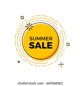 Summer sale design with the sun for print, web design and banners. Vector design