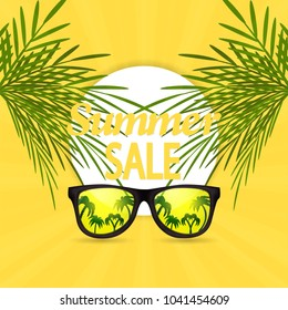 Summer sale design template with summer background with palm and frame.