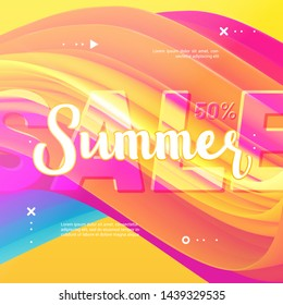 Summer Sale Discount abstract 3d vector gradient banner. Special up to 50% off. Summer wave poster. Trendy design. Square template for banner, flyer, Sale promotion, ad, blog, marketing.1. Eps 10