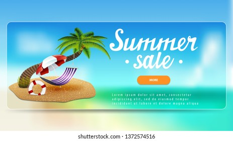 Summer sale, discount banner with lettering, button, palm tree, hammock and beach umbrella