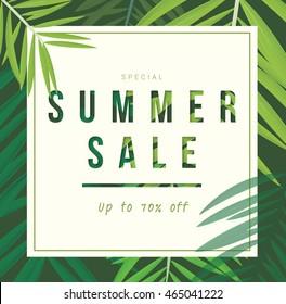 Summer sale discount banner poster, coconut palm leaf, vector illustration