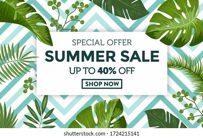 Summer sale discount design background with tropical leaves. Banner with exotic jungle plants. Exotic palm leaves with blue chevron style pattern background.