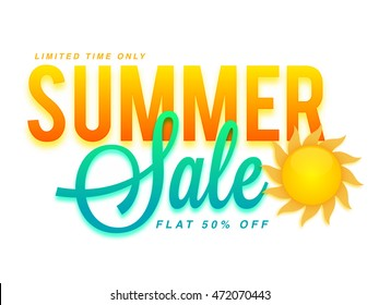 Summer Sale and Discounts, Flat 50% Off for Limited Time Only, Glossy Typographical Background with Sun, Creative Poster, Banner or Flyer layout.
