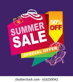 Summer sale doodle vector banner.  Vector illustration.