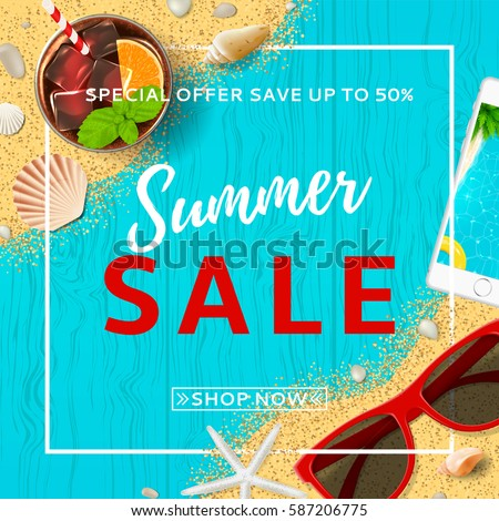 6552f40baed6 Summer Sale Elegant Banner Top View Stock Vector (Royalty Free ...