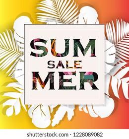 summer sale Floral  banner background. Vector illustration