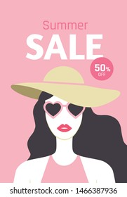 Summer Sale flyer design with beautiful long-haired young woman with red lipstic, hat and sunglasses. Stylish fashion poster. 50% off. - Vector illustration