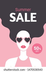 Summer Sale flyer design with beautiful long-haired girl with red lipstic and sunglasses. Stylish young woman. 50% off. - Vector illustration