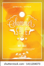 Summer sale flyer or poster. Summer discount label. Typography retro style design element. Vector template with colorful abstract background