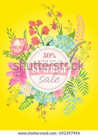 summer sale flyer template tropical leaves flowers stock vector
