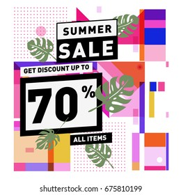 Summer sale geometric style web banner. Fashion and travel discount. Vector holiday Abstract colorful illustration with special offers and promotions.