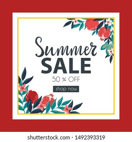 Summer Sale hand drawn lettering banner with delicious and ripe pomegranate fruits and tropic leaves.Promotional flyer template
