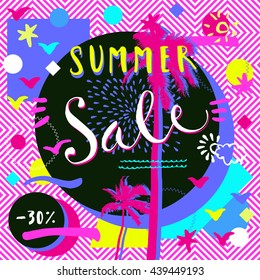 Summer Sale. Hand lettered advertisement with palm trees and geometric shapes. Bright abstract design in 1980-s style in vector