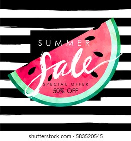"""summer sale"" hand written lettering vector illustration with watercolor paint textured watermelon on trendy striped background"