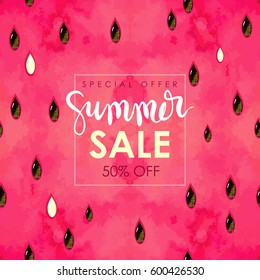 """summer sale"" hand written lettering. Vector illustration with watercolor paint textured watermelon background."