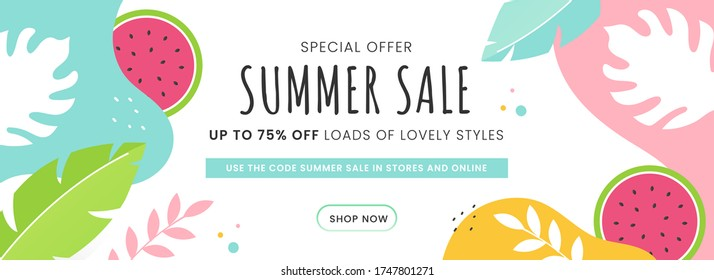 Summer Sale Header or Banner Design with 75% Discount Offer, Watermelon and Tropical Leaves Decorated on Abstract Background.