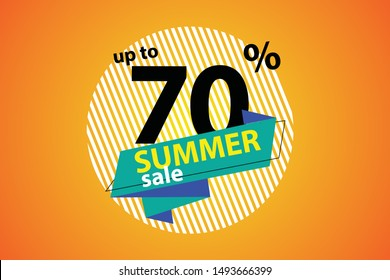 Summer Sale heading design for banner or poster. Sale and Discounts Concept.