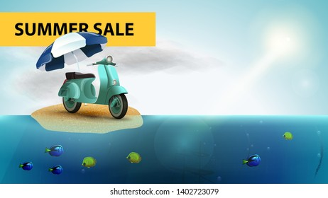 Summer sale, horizontal sea web banner with scooter with a beach umbrella