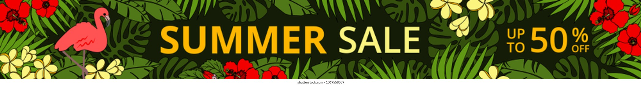 Summer sale horizontal web banner with pink flamingo, tropic palm leaves and flowers on black background