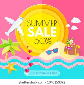 Summer Sale. Hot Vacation Design Template. Enjoy Sea Holidays. Vector illustration