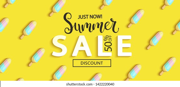 Summer Sale ice cream banner on yellow background, hot end or mid season 50 percent discount poster.Invitation for shopping, special offer card, template design for promotions. Vector illustration.