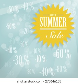 Summer sale label - abstract blue background with sun.