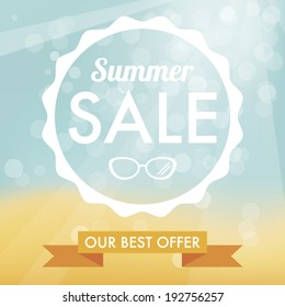 Summer sale label � hot beach background and white flat label.