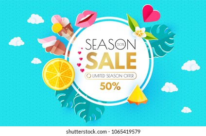 Summer Sale Layout Design Template. Paper Art. Season Offer with Circle Banner, Citrus, Plumeria, Icecream, Lips, Clouds, Pineapple and Monstera on Colorful Bright Background. Vector illustration