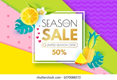 Summer Sale Layout Design Template. Paper Art. Season Offer Banner with Square Banner, Citrus, Hearts, Pineapple, Plumeria, Monstera Leaves and Heart on Colorful Background. Vector illustration