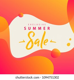 Summer Sale Lettering concept on fluid background. neon color gradients and shapes.