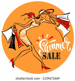 Summer sale.  Lettering. The girl runs to shop. Tag design for discount. Shopping on site. Vector illustration
