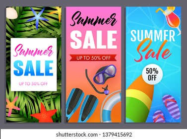 Summer sale letterings set, flip flops, surfboard and scuba mask. Tourism, summer offer or sale design. Handwritten and typed text, calligraphy. For brochures, invitations, posters or banners.