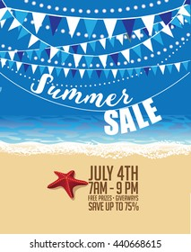 Summer sale marketing template with copy space. EPS10 vector.