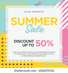 Summer Sale Memphis Design Card